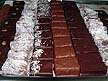 FRA06VJB27 Famous Henriet chocolates arranged in sets by design, pattern, flavour; mouth watering; Biarritz, Basque Country, France Copyright Tropix (V. and M. Birley)