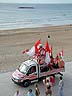 FRA06VJB90 Biarritz Olympique Pays Basque, BOPB, rugby union supporters: car, flags, headdress, strip. Biarritz beach, France. Copyright Tropix (V. and M. Birley)