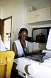 NAM94IDS6_14 Student at computer at Rossing Foundation Adult Education Ctr, Ondangwa, gateway town to N. Namibia. Copyright Tropix (IAN SPARK)