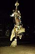 SAF92MA1_14 Man, full Zulu costume (hide, sheepskin, bright beadwork), dancing, leaps up high in the air. Natal, South Africa. Copyright Tropix (M. Auckland)